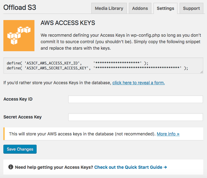 AWS API Key Connection For WP Offload S3 WordPress Plugin