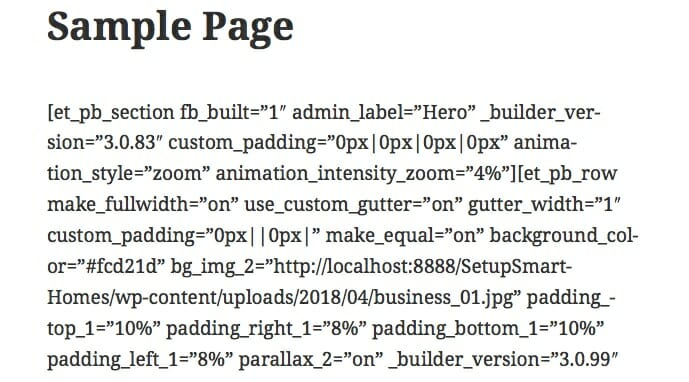 Page After Removing Divi Visual Page Builder